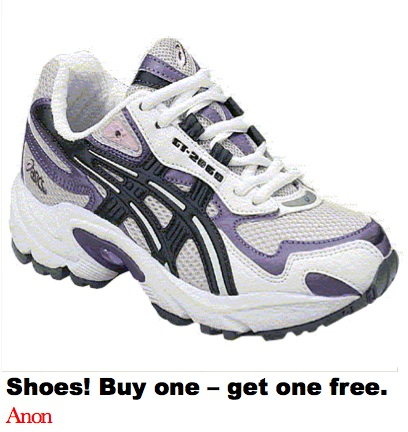 Shoes. Buy one get one free. Holycowthinks.com Mark Hancock